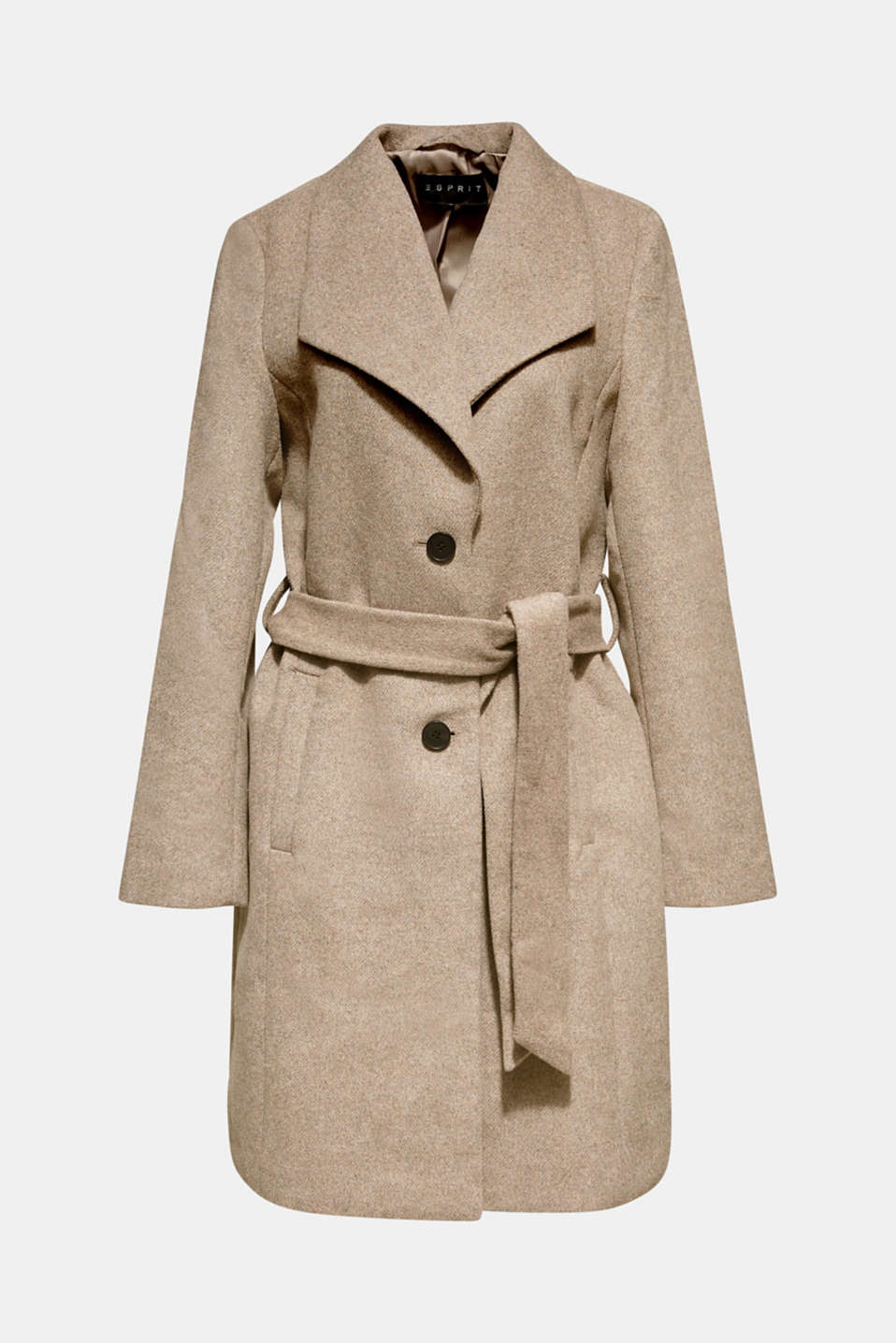Wool blend: coat with a spade collar, LIGHT TAUPE 5, detail image number 7