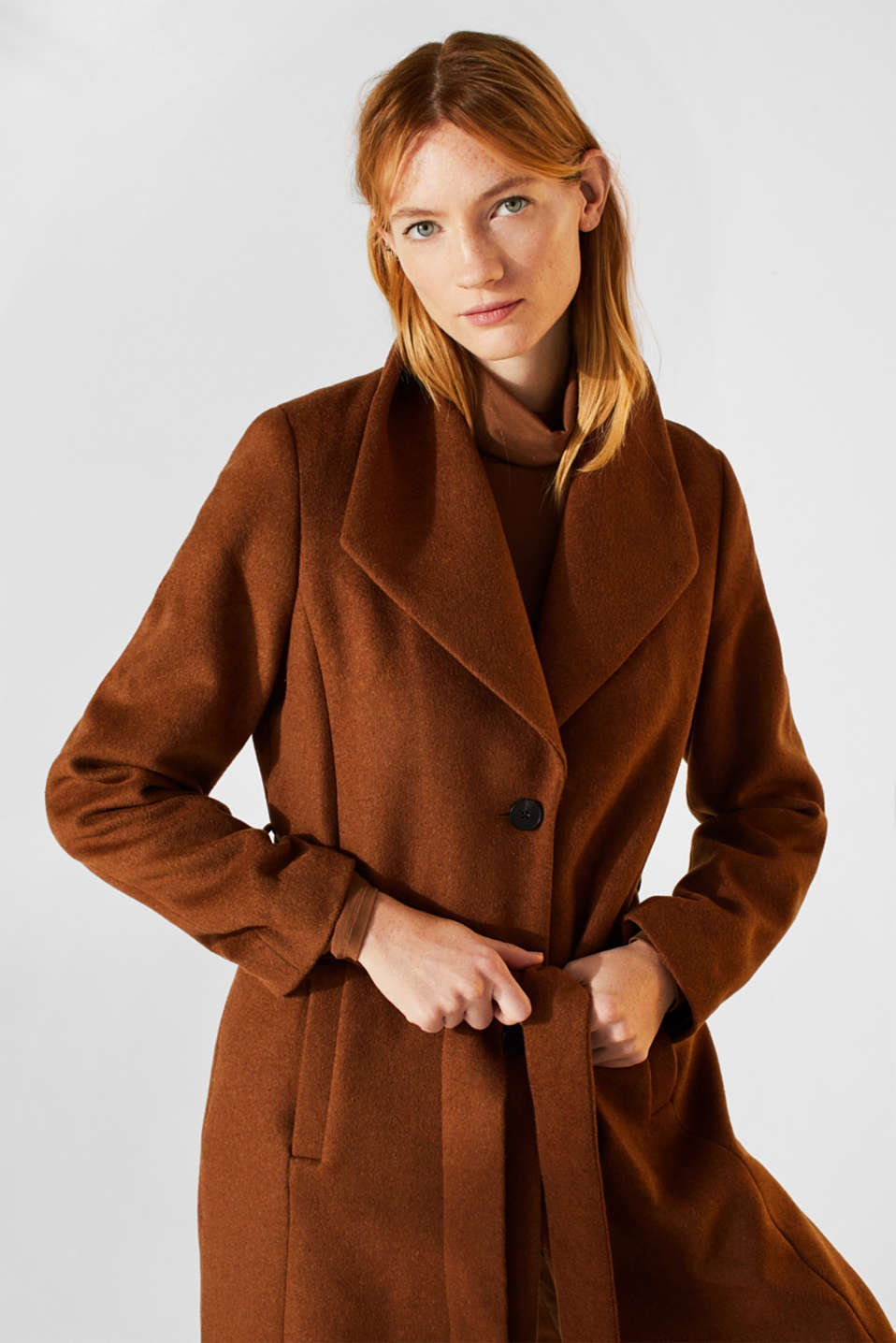 Wool blend: coat with a spade collar, TOFFEE, detail image number 0