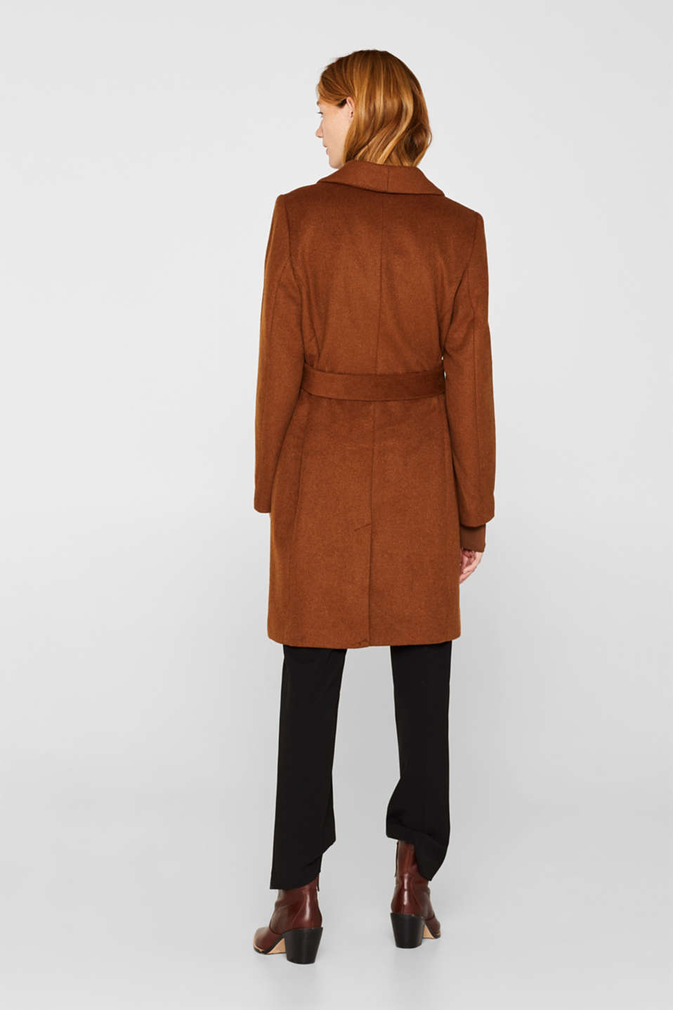 Wool blend: coat with a spade collar, TOFFEE, detail image number 3