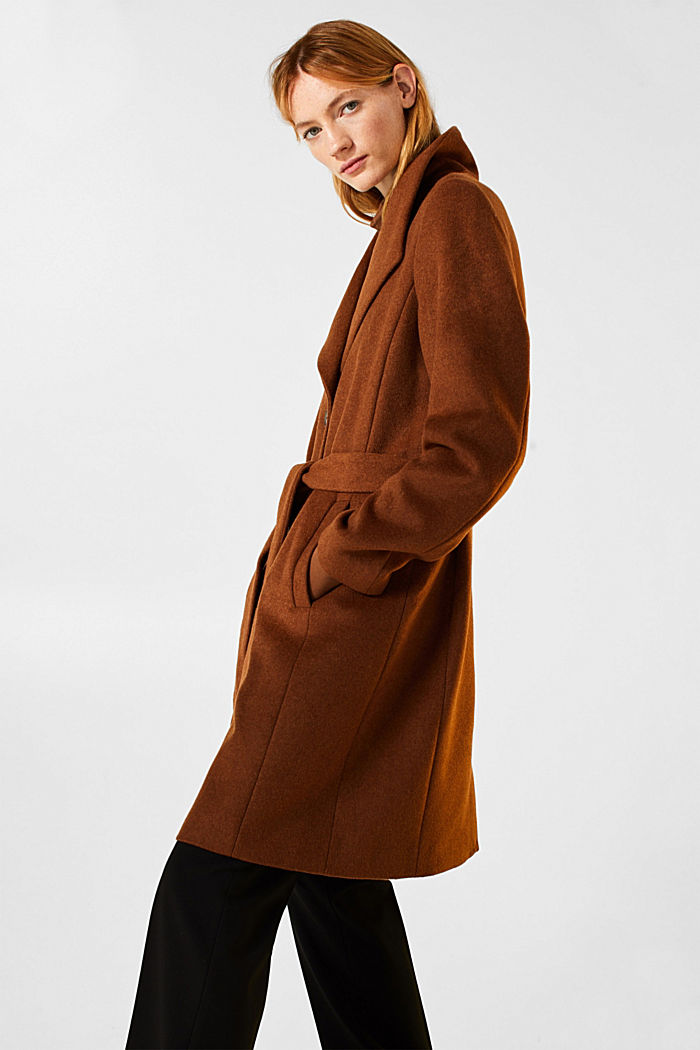 Wool blend: coat with a spade collar, TOFFEE, detail image number 5