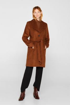 Wool blend: coat with a spade collar, TOFFEE, detail