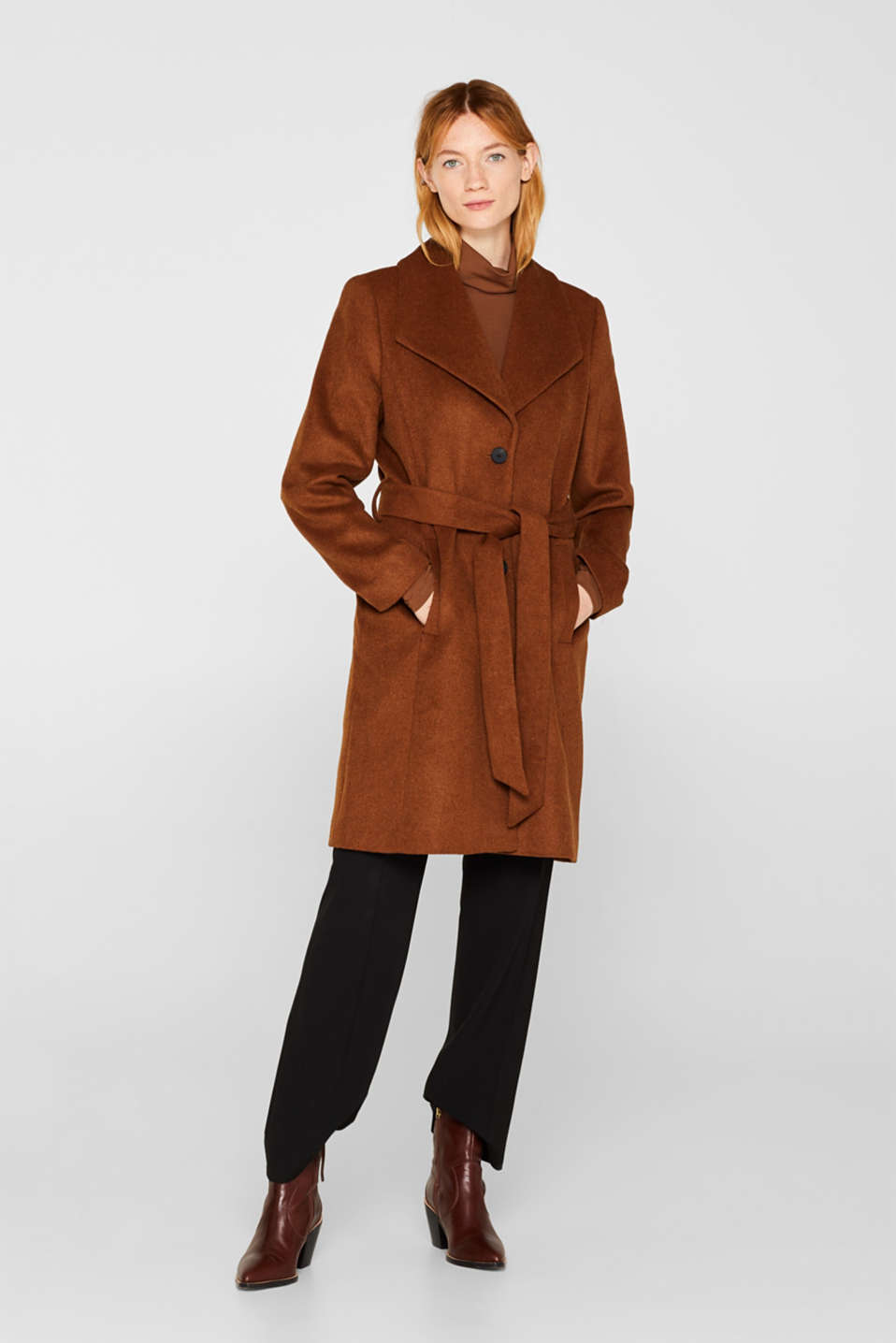 Wool blend: coat with a spade collar, TOFFEE, detail image number 1