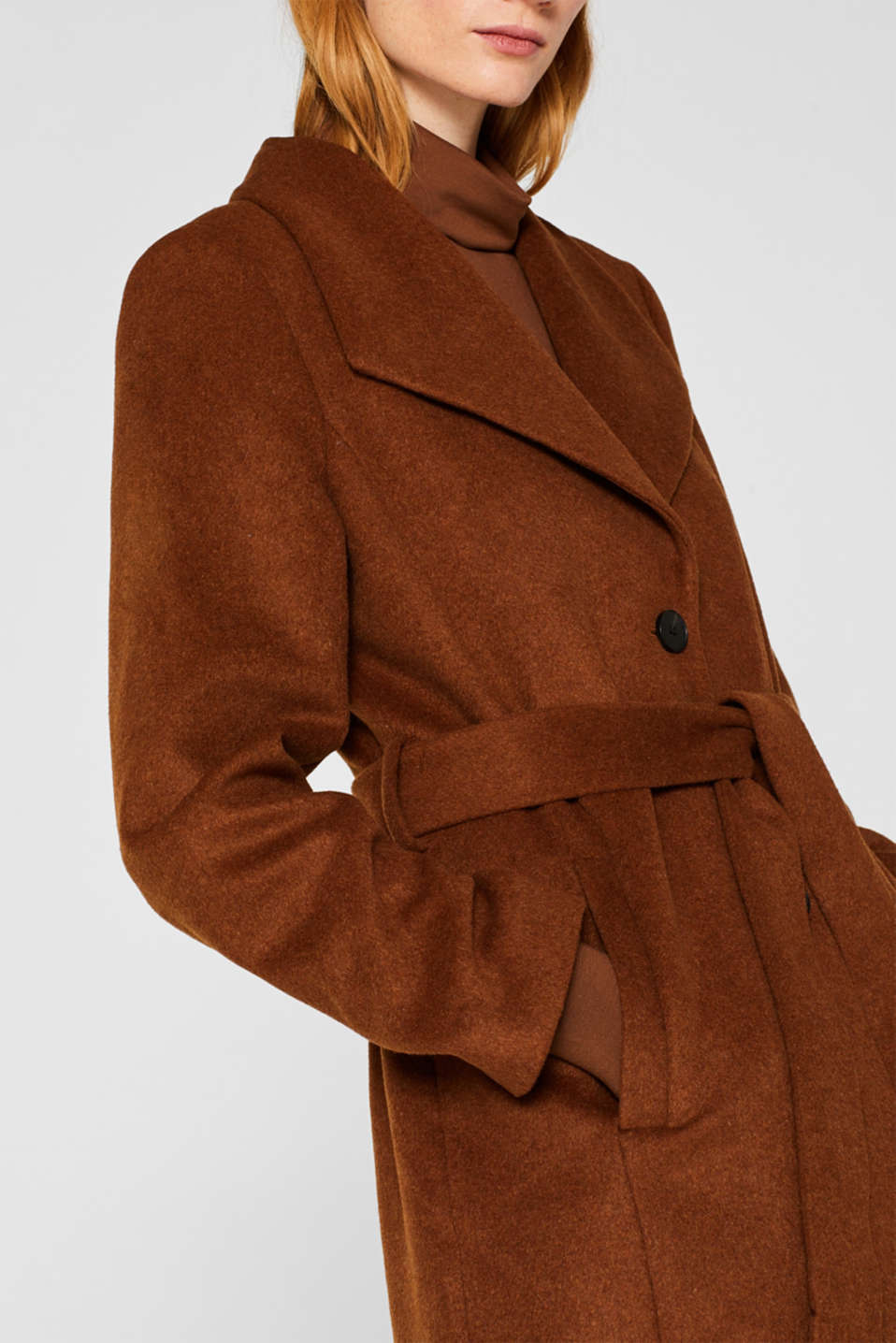 Wool blend: coat with a spade collar, TOFFEE, detail image number 2