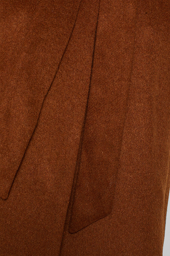 Wool blend: coat with a spade collar, TOFFEE, detail image number 4