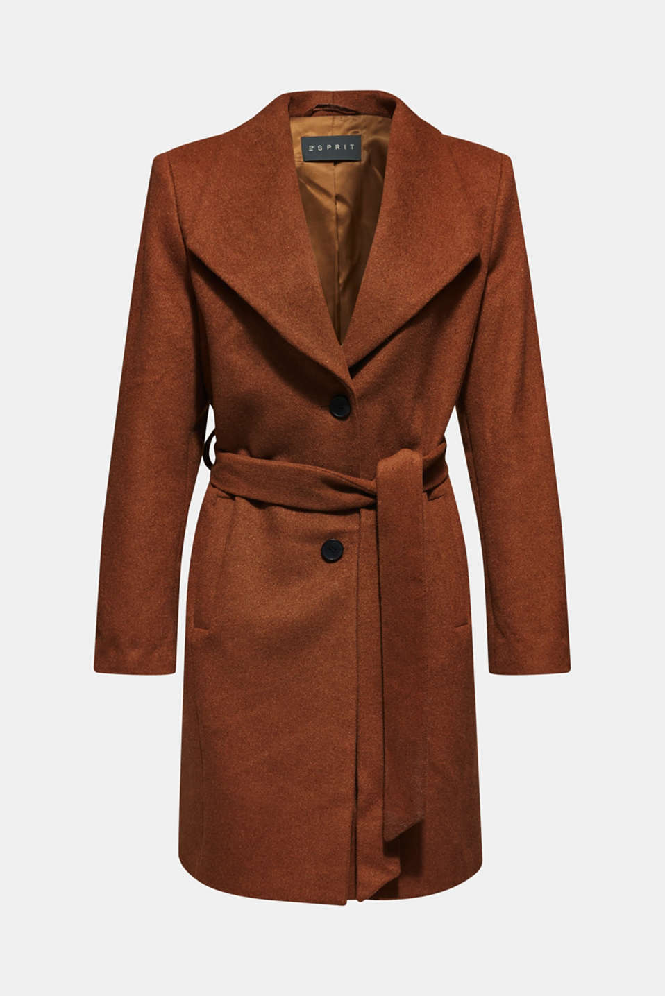 Wool blend: coat with a spade collar, TOFFEE, detail image number 7