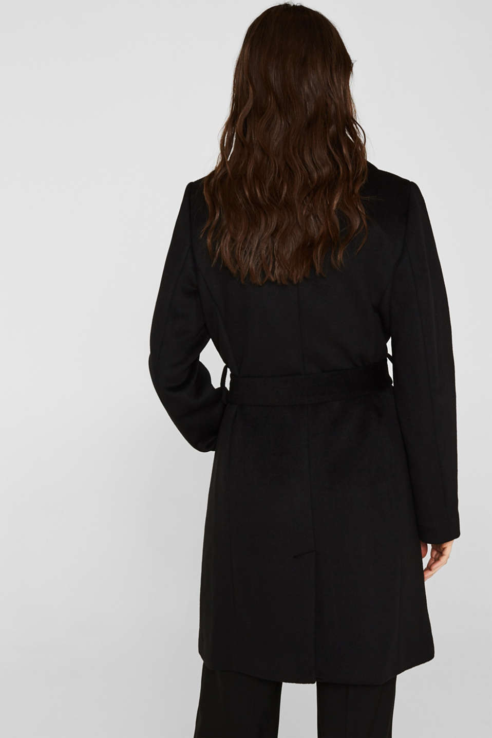 Wool blend: coat with a spade collar, BLACK, detail image number 3