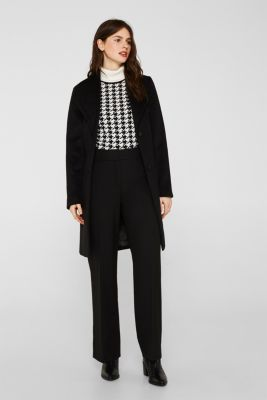 Wool blend: coat with a spade collar, BLACK, detail