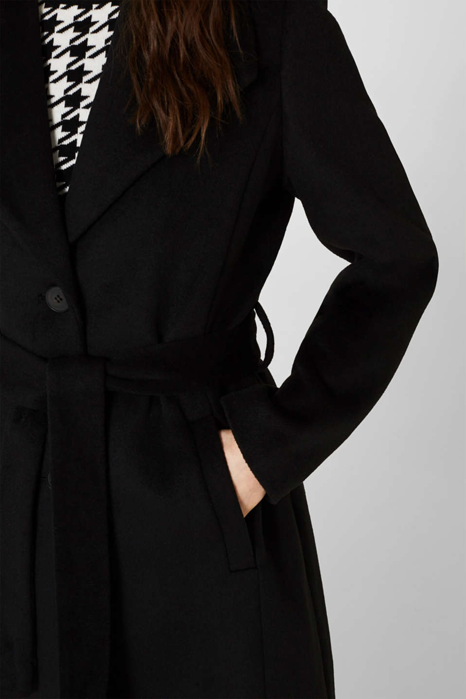 Wool blend: coat with a spade collar, BLACK, detail image number 2