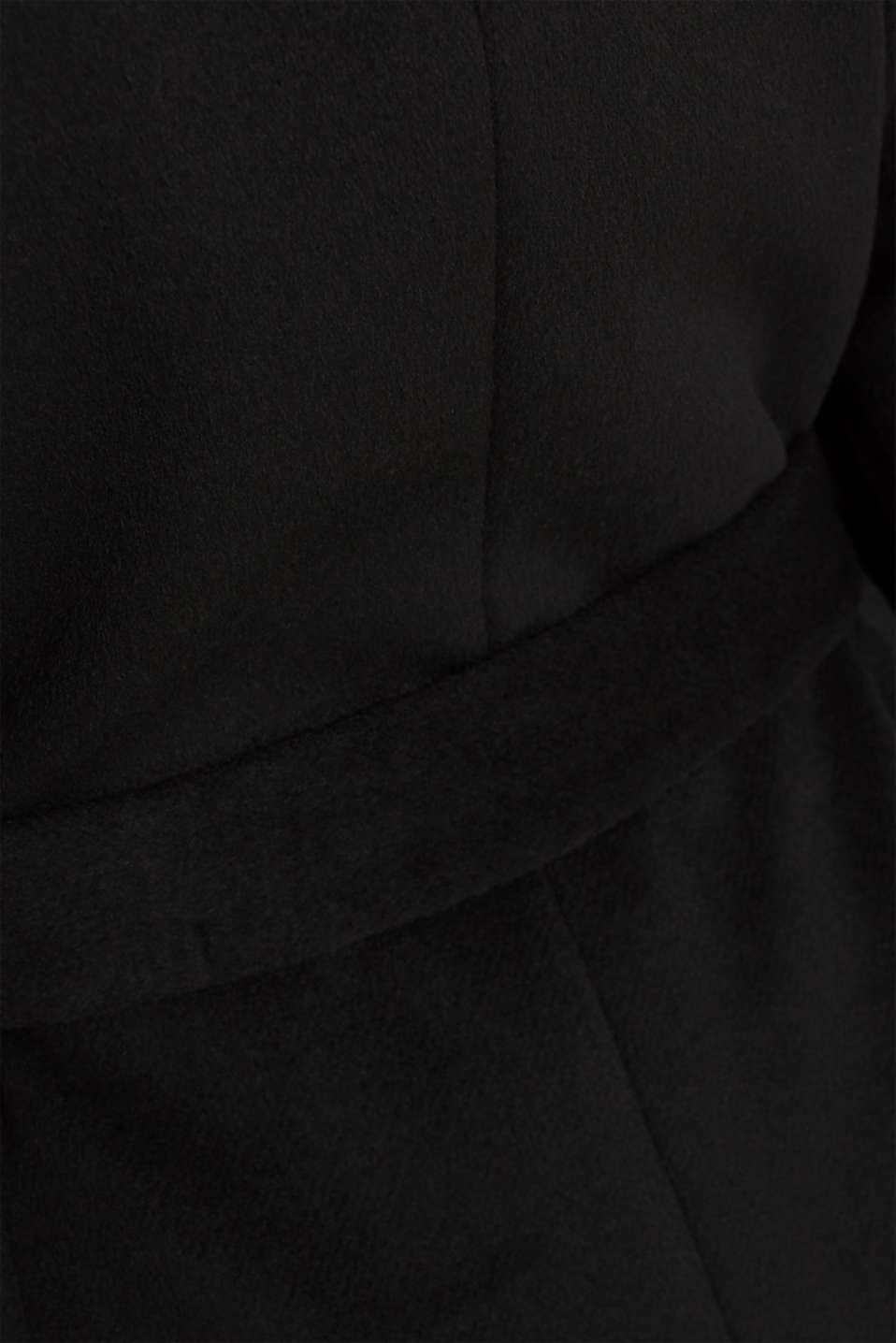 Wool blend: coat with a spade collar, BLACK, detail image number 4