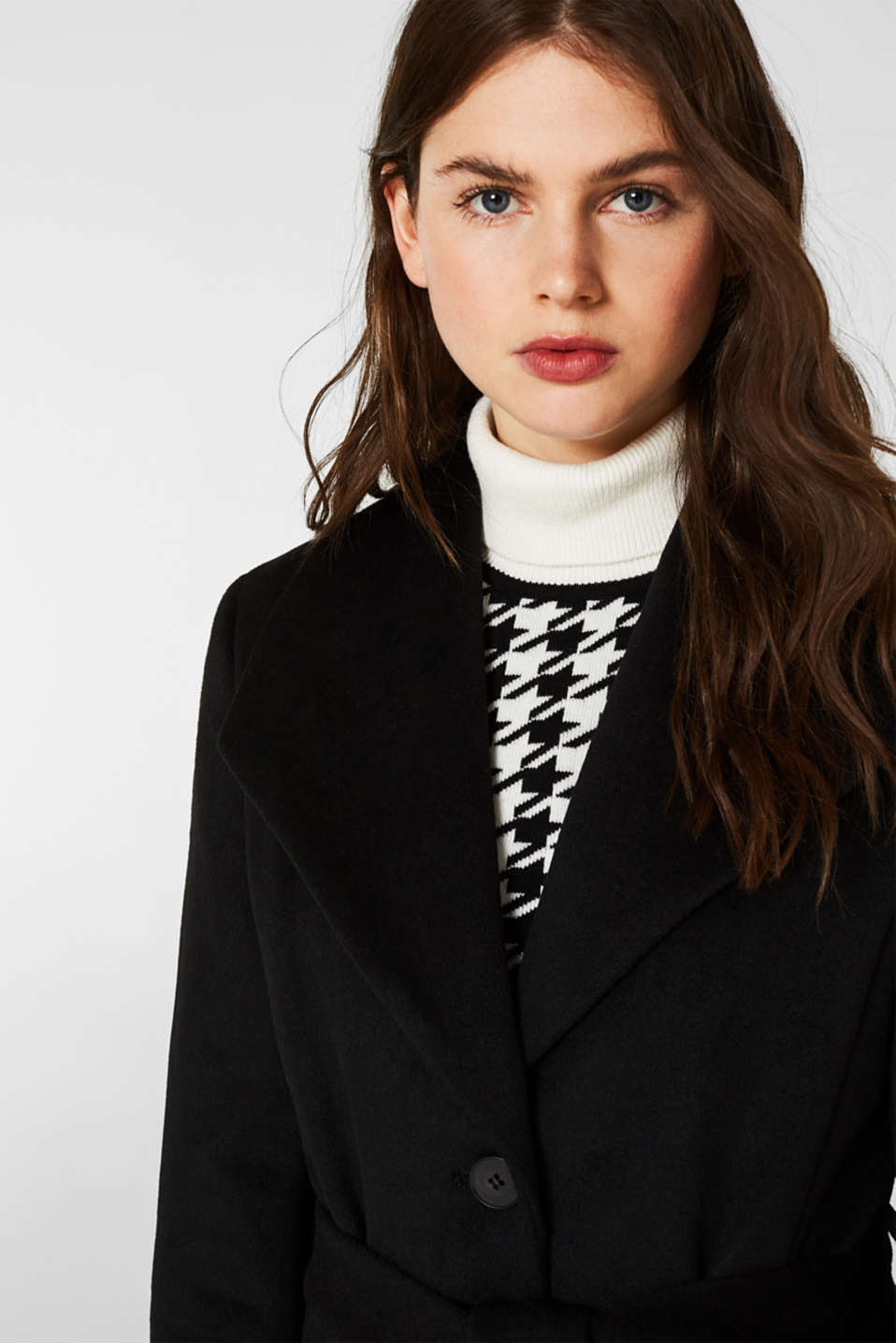 Wool blend: coat with a spade collar, BLACK, detail image number 5