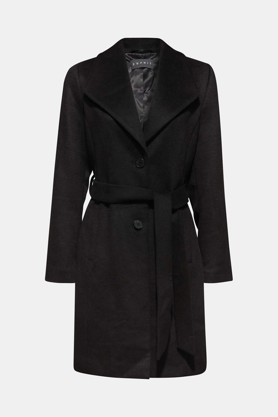 Wool blend: coat with a spade collar, BLACK, detail image number 6