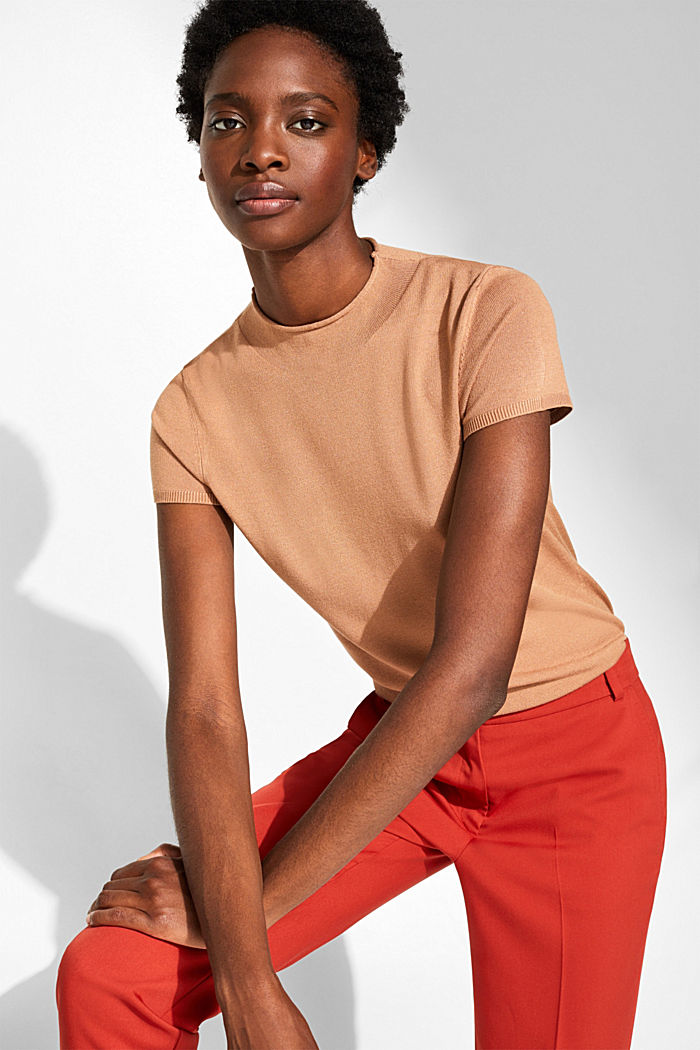 Short-sleeved jumper with a stand-up collar, CARAMEL, detail image number 0
