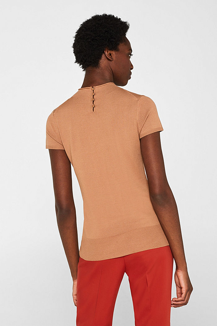 Short-sleeved jumper with a stand-up collar, CARAMEL, detail image number 3