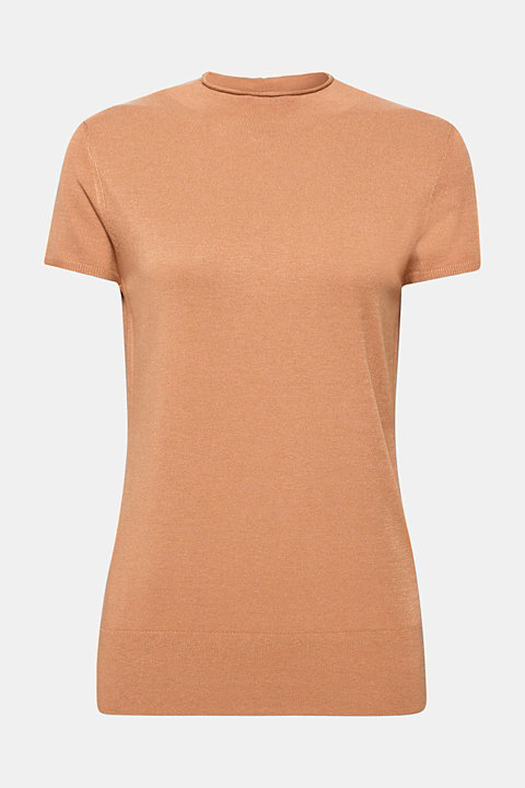 Short-sleeved jumper with a stand-up collar