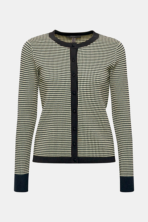 Fine knit cardigan with popcorn texture