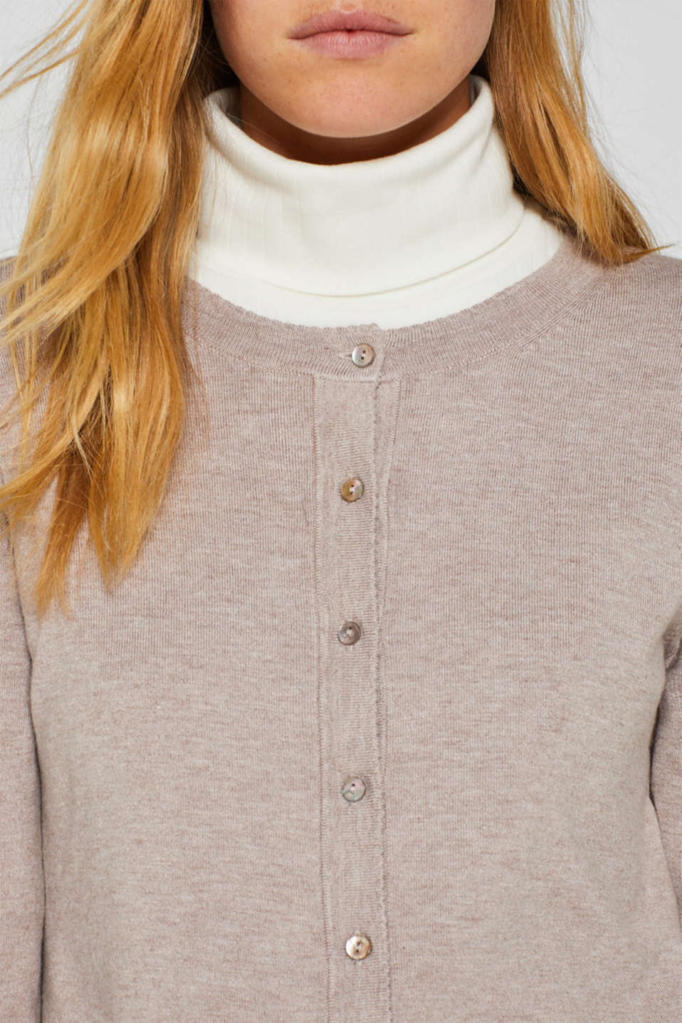 Fine knit cardigan with LENZING™ ECOVERO, LIGHT TAUPE 5, detail image number 2