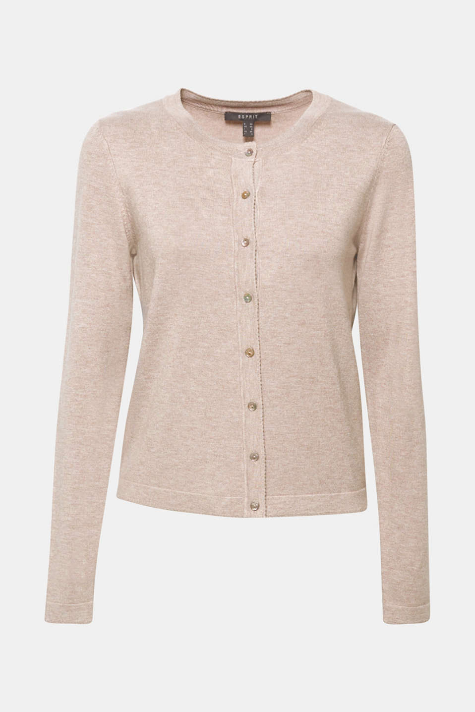 Fine knit cardigan with LENZING™ ECOVERO, LIGHT TAUPE 5, detail image number 7