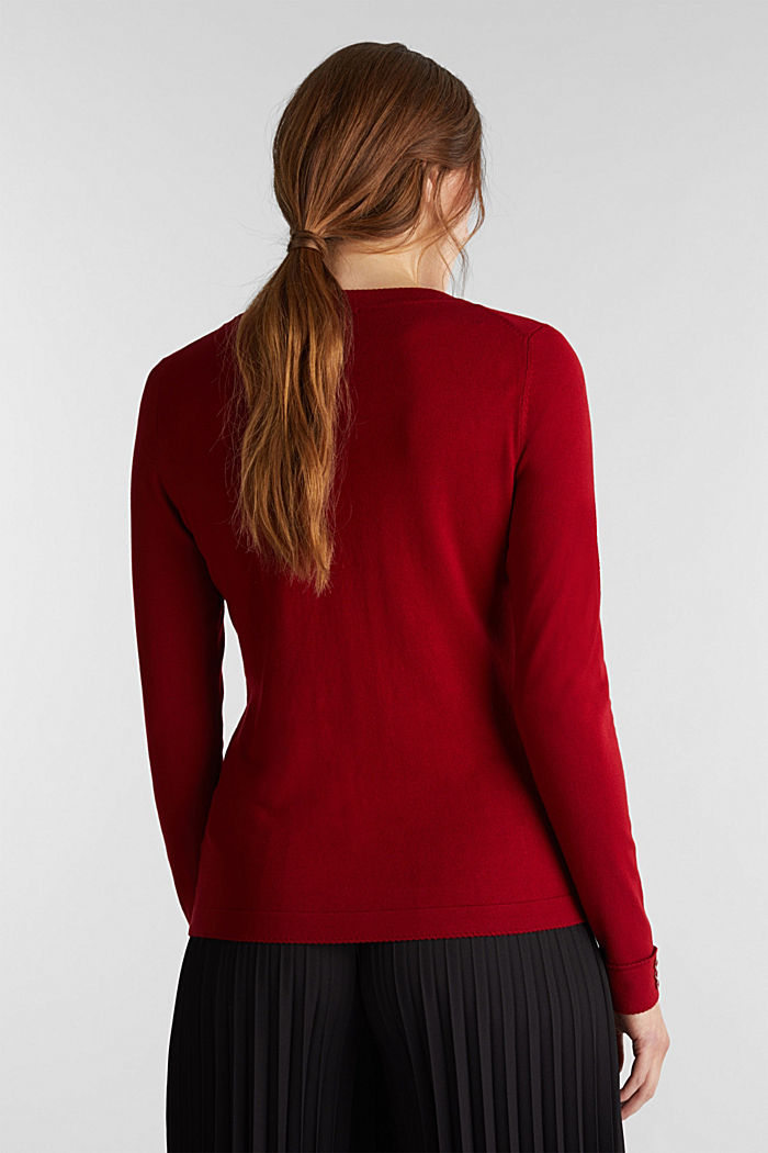 Pullover con LENZING™ ECOVERO™, DARK RED, detail image number 3