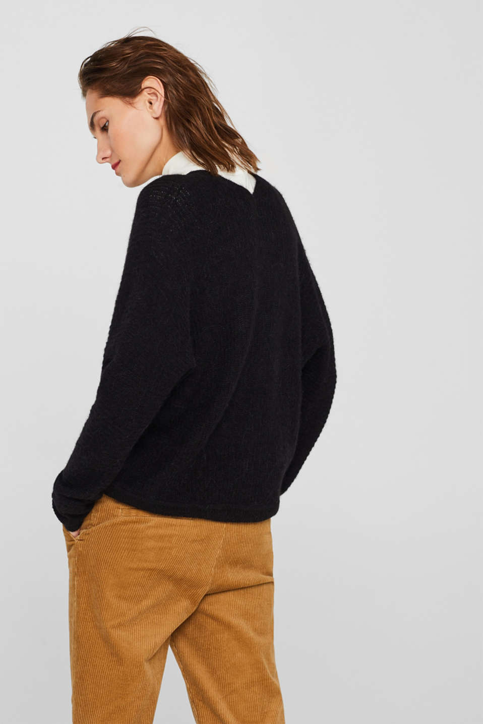 With wool: soft cardigan with alpaca, BLACK, detail image number 3