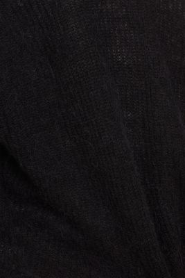 With wool: soft cardigan with alpaca, BLACK, detail