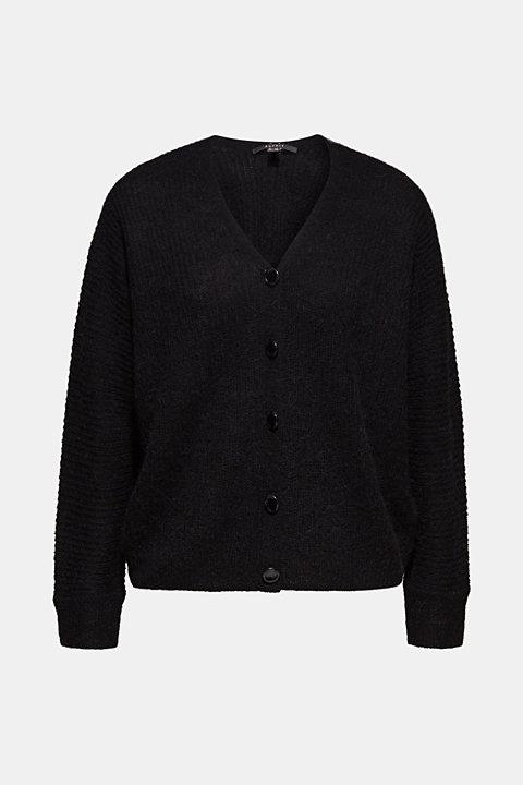 With wool: soft cardigan with alpaca
