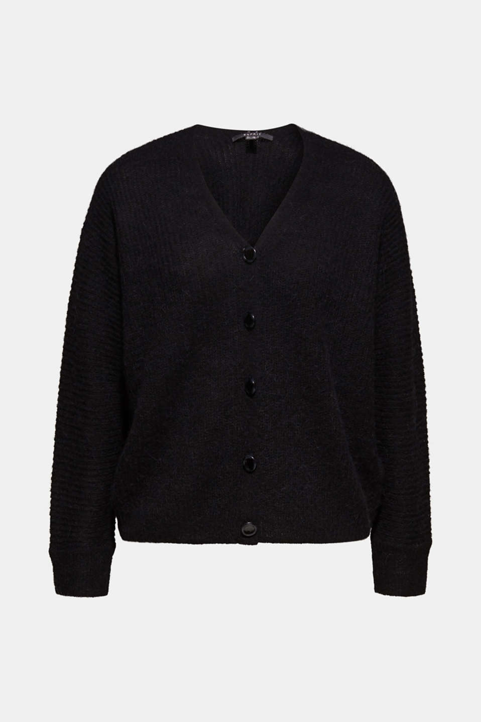 With wool: soft cardigan with alpaca, BLACK, detail image number 5