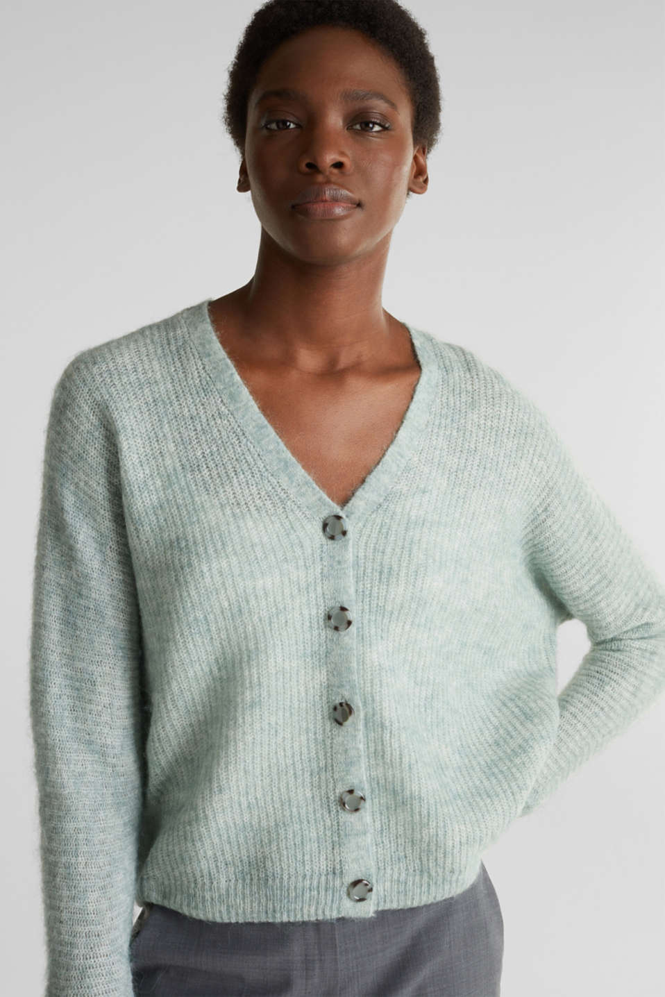 Sweaters cardigan, DUSTY GREEN 5, detail image number 6