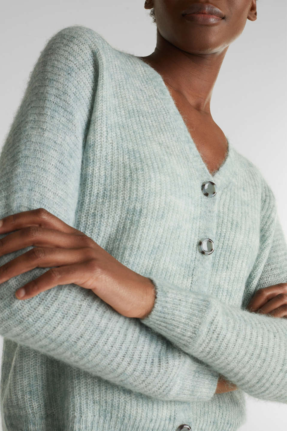 Sweaters cardigan, DUSTY GREEN 5, detail image number 5