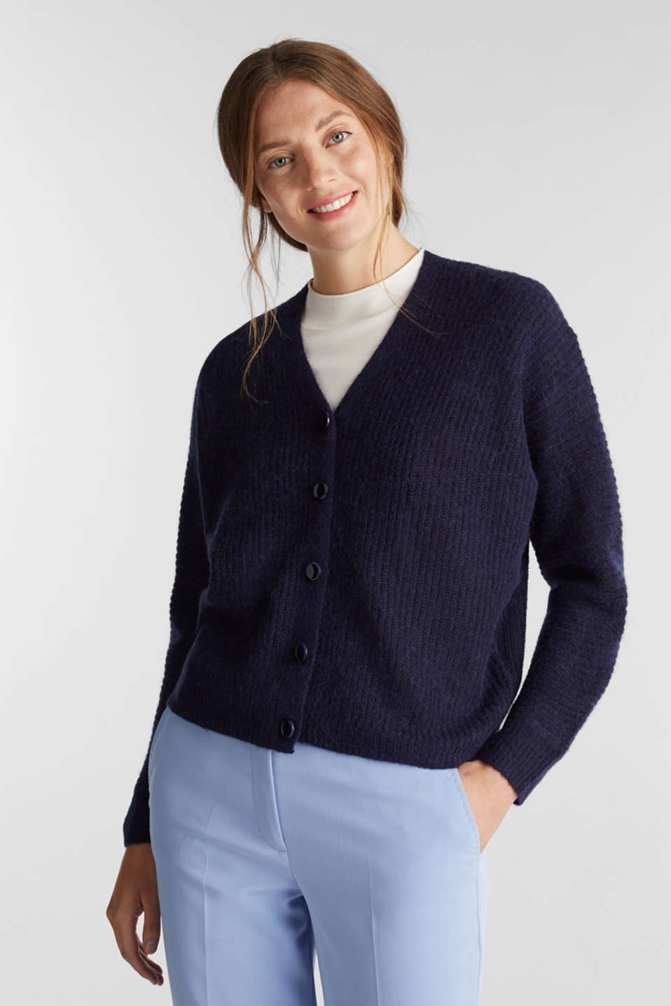 With wool: soft cardigan with alpaca, NAVY 5, detail image number 0