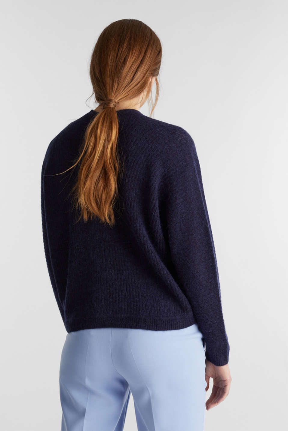 With wool: soft cardigan with alpaca, NAVY 5, detail image number 3