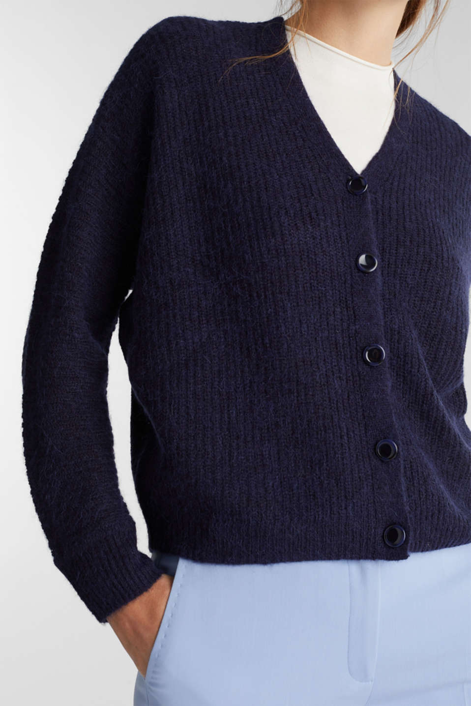 With wool: soft cardigan with alpaca, NAVY 5, detail image number 2