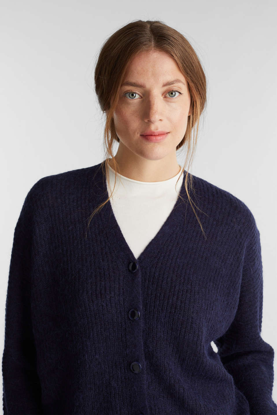 With wool: soft cardigan with alpaca, NAVY 5, detail image number 5
