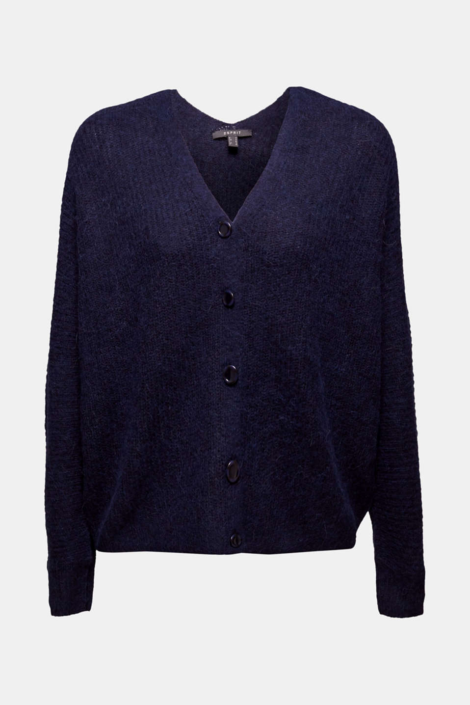 With wool: soft cardigan with alpaca, NAVY 5, detail image number 6