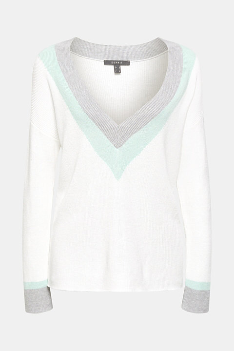 Colour block jumper with a deep V-neckline