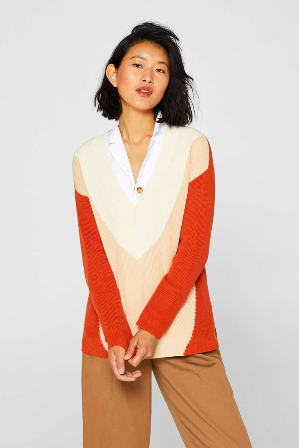 Esprit - Color Block-Pullover mit tiefem V-Neck