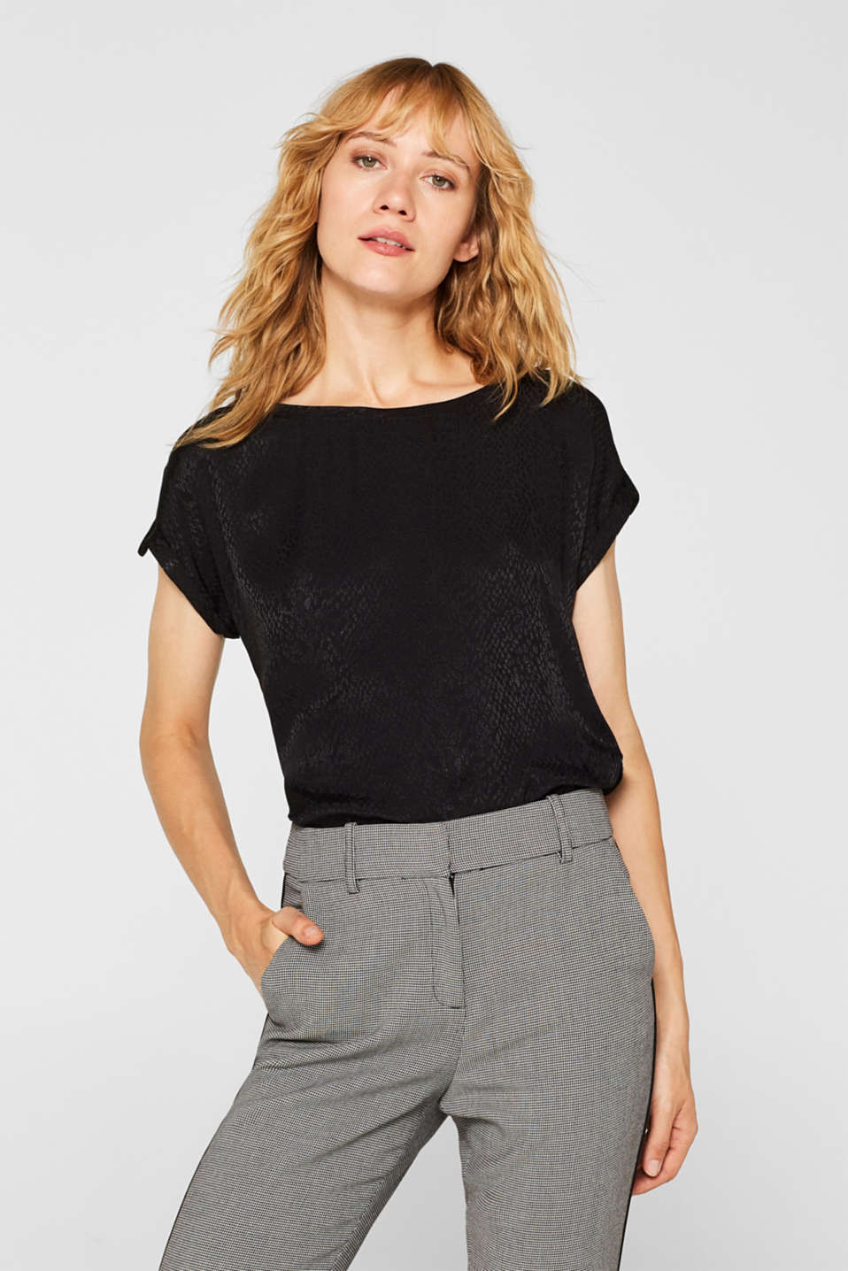 Esprit - Blousetop met jacquardmotief in animal look
