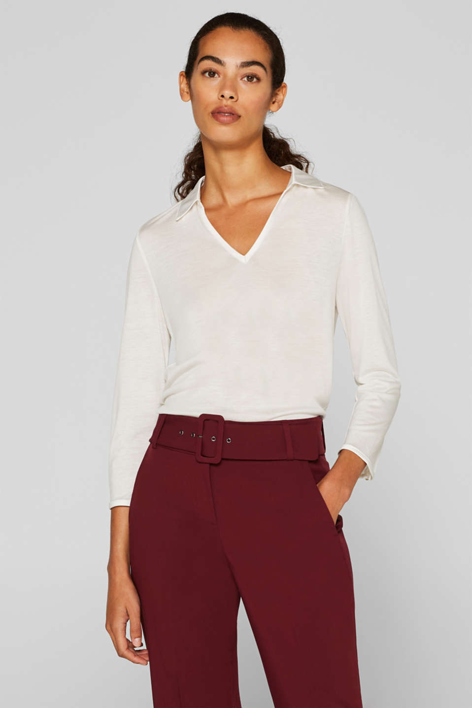 Esprit - Lyocell top with a satin collar
