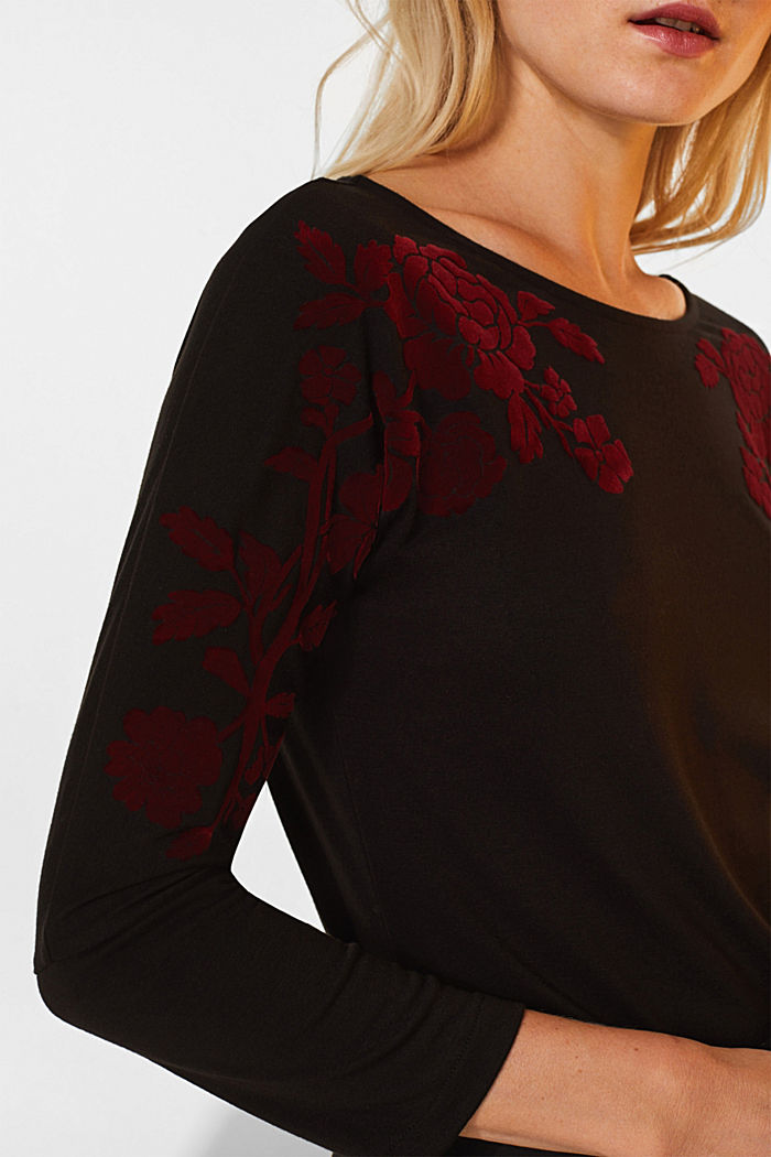 Long sleeve top with a flock print, BLACK, detail image number 2