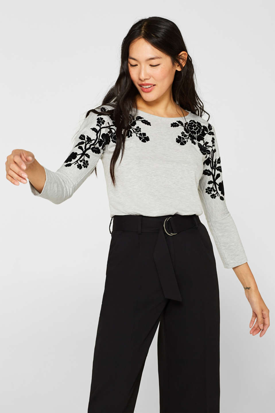 Esprit - Long sleeve top with a flock print