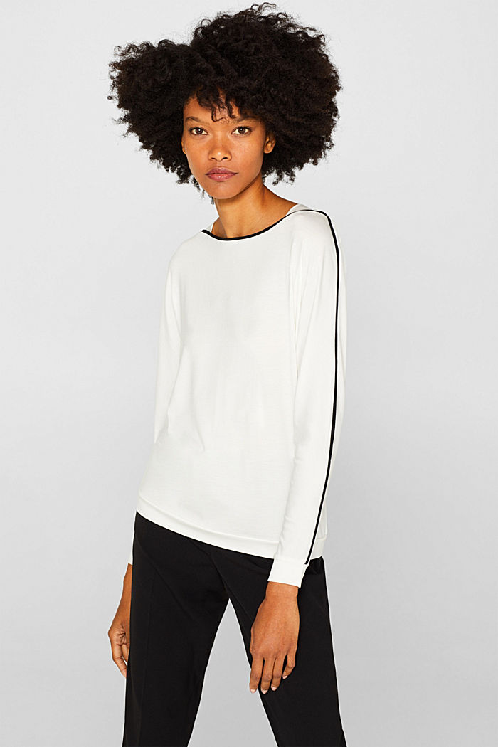 TENCEL™ long sleeve top with piping, OFF WHITE, detail image number 0