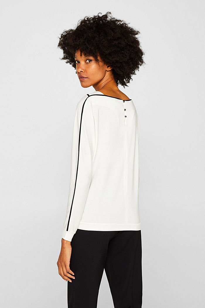 TENCEL™ long sleeve top with piping, OFF WHITE, detail image number 3