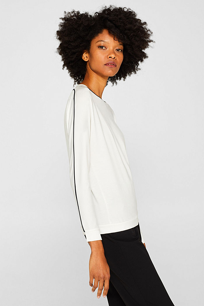 TENCEL™ long sleeve top with piping, OFF WHITE, detail image number 5