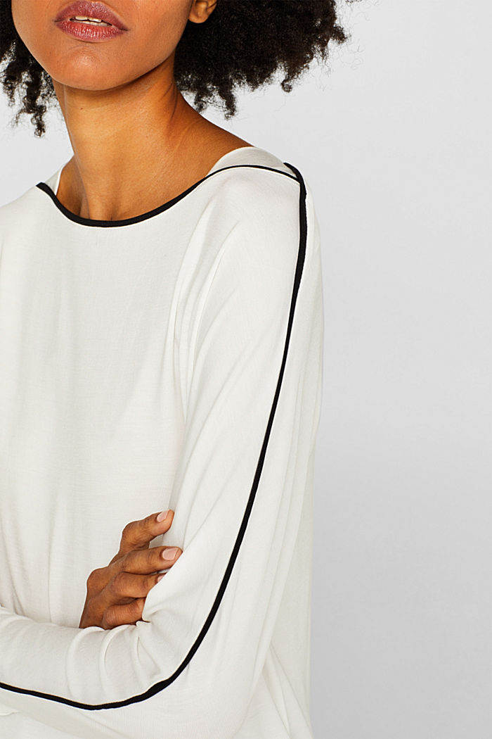 TENCEL™ long sleeve top with piping, OFF WHITE, detail image number 2