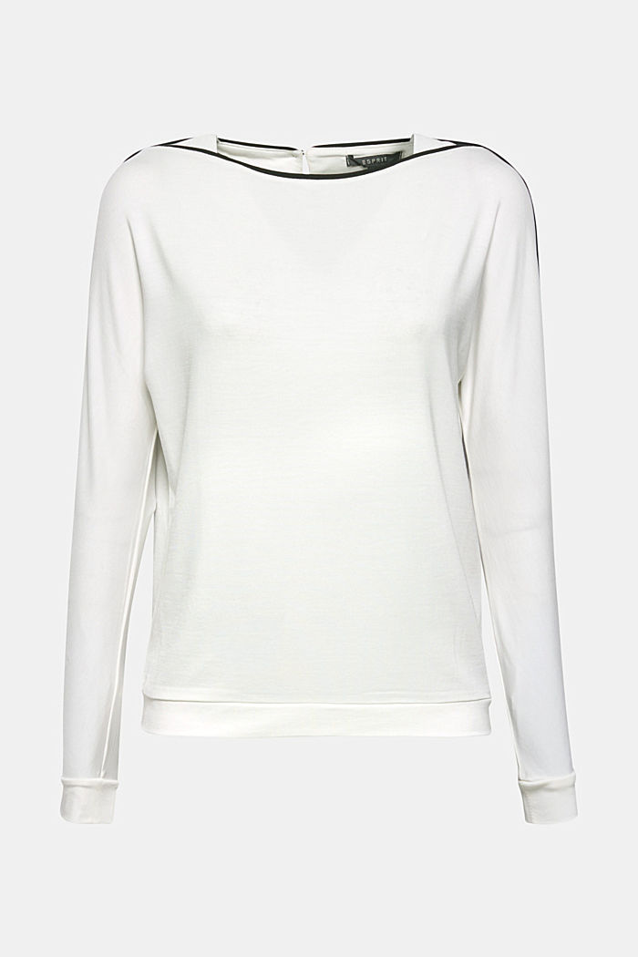 TENCEL™ long sleeve top with piping, OFF WHITE, detail image number 6