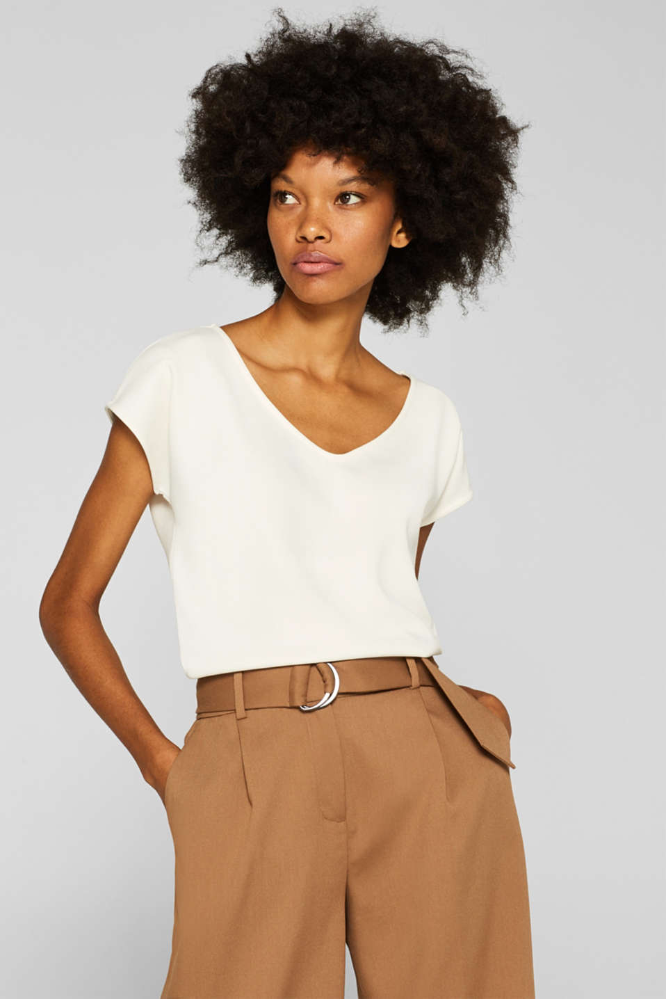 Esprit - Shirt met stretch en brushed effect