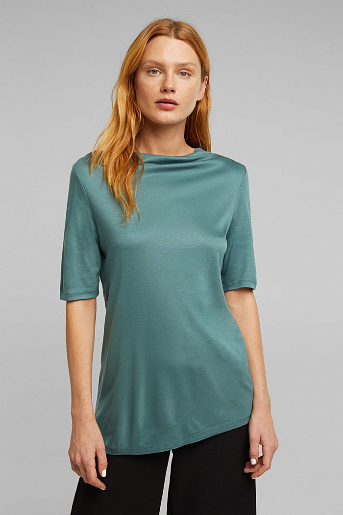 T-shirt with bateau neckline, DUSTY GREEN, detail image number 0