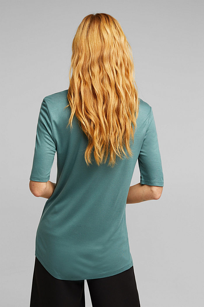 T-shirt with bateau neckline, DUSTY GREEN, detail image number 3