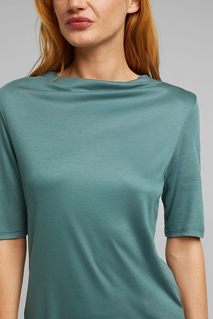 T-shirt with bateau neckline, DUSTY GREEN, detail image number 2