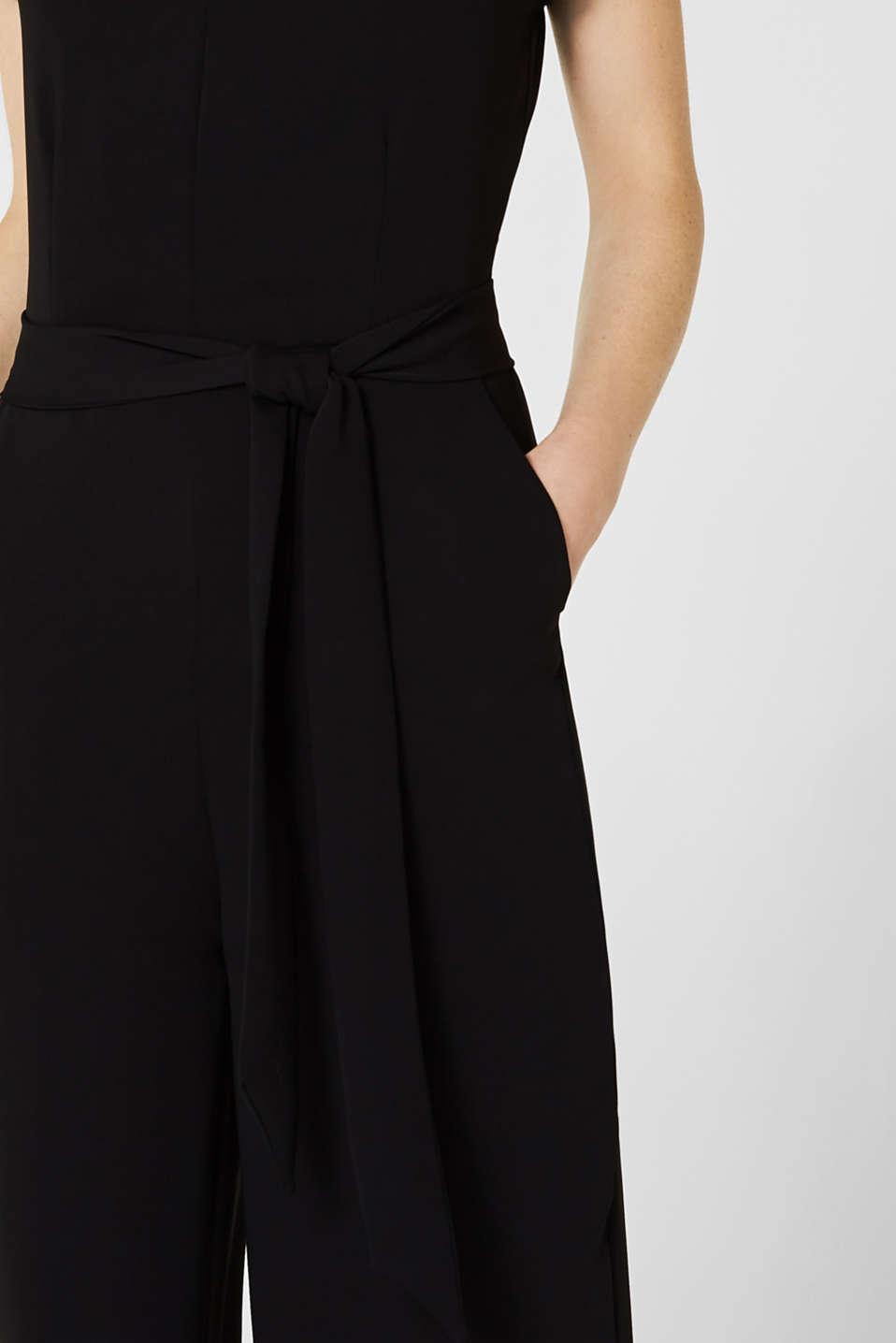 V-neck jumpsuit with tie-around belt, BLACK, detail image number 2