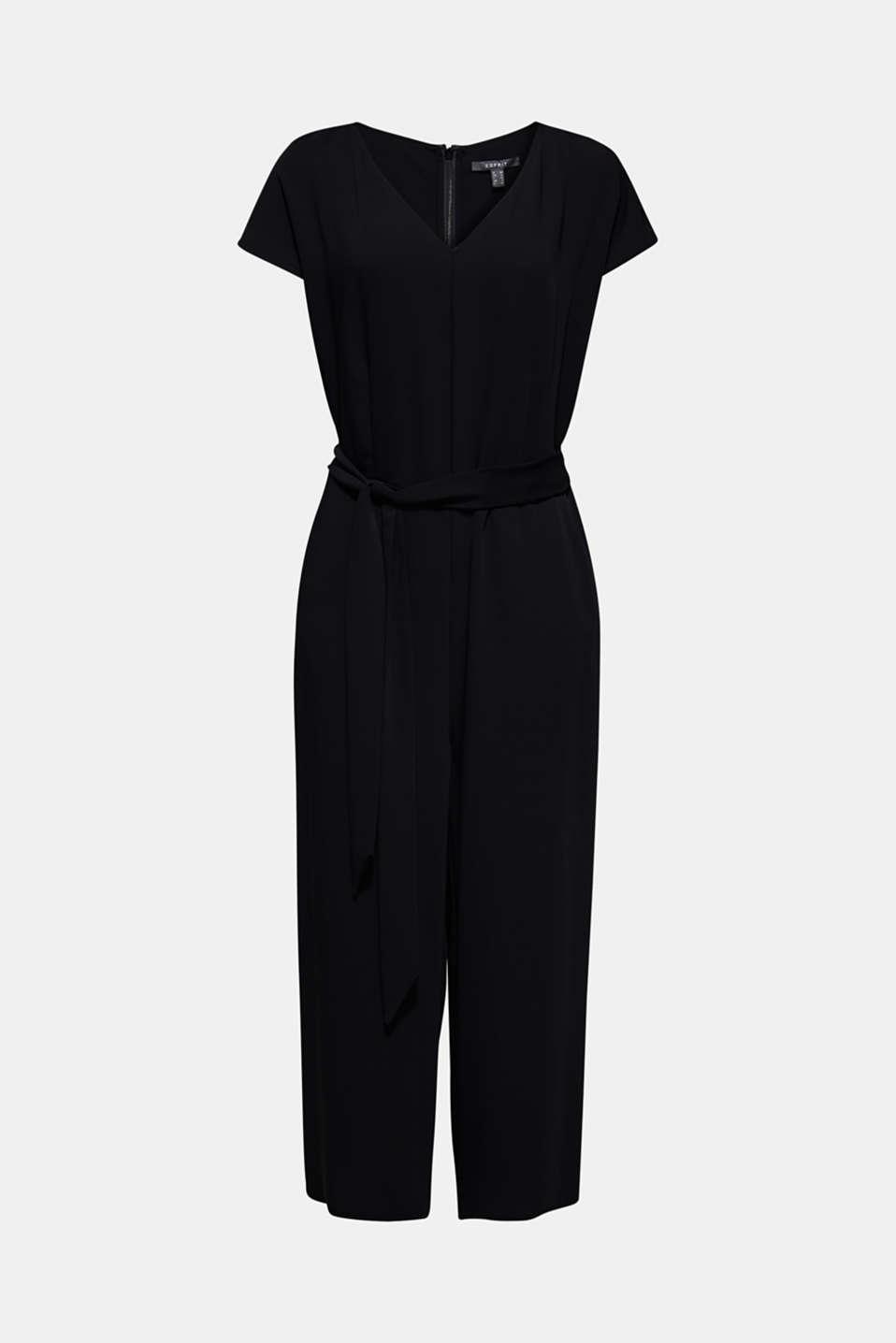 V-neck jumpsuit with tie-around belt, BLACK, detail image number 4